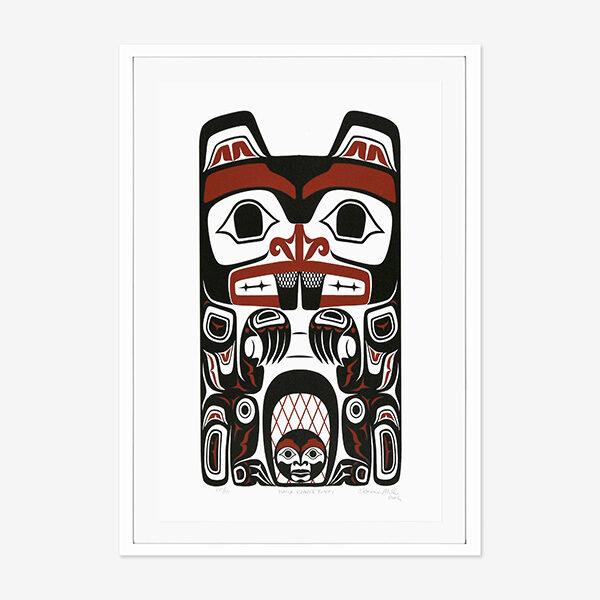 Beaver Totem Print by Northwest Coast Native Artist Clarence Mills