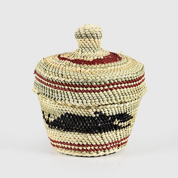 Grass and Bark Woven Killerwhale Basket by Northwest Coast Native Artist Dorothy Shephard