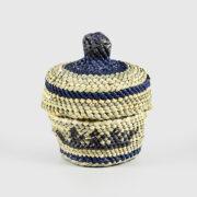Grass and Bark Woven Canoe Basket by Northwest Coast Native Artist Dorothy Shephard