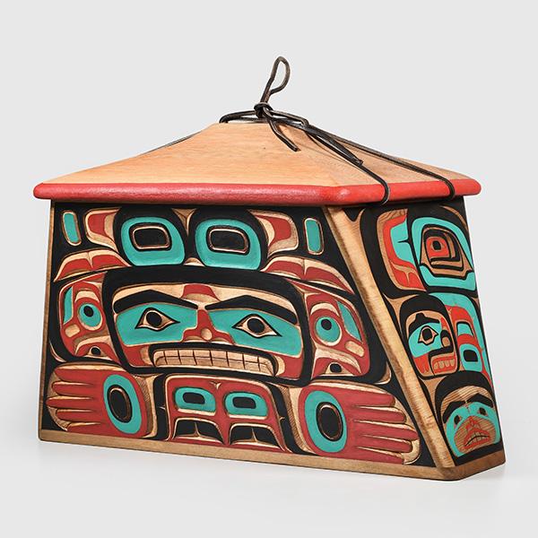 Wood Bear and Human Canoe Bentwood Box by Northwest Coast Native Artist Bruce Alfred