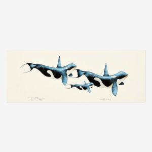 Original Killerwhale Painting by Plains Cree Native Artist Garnet Tobacco