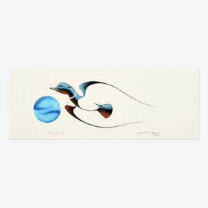 Original Mallard Duck Painting by Plains Cree Native Artist Garnet Tobacco
