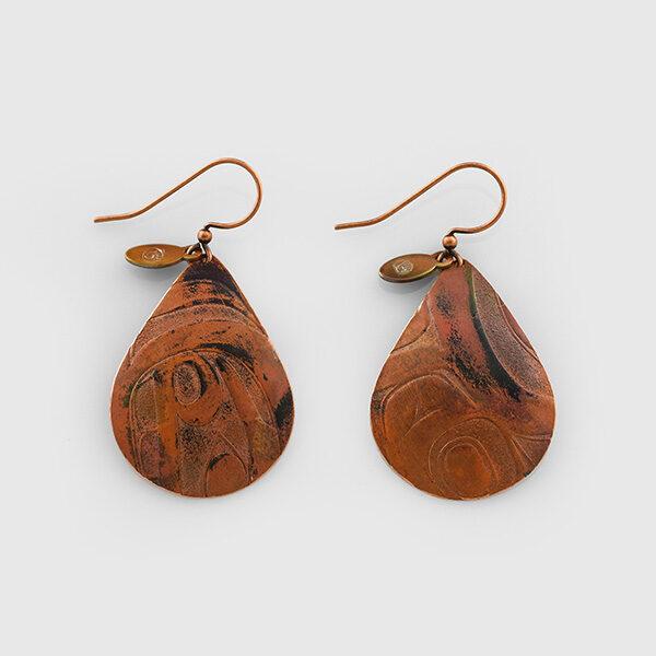 Copper Rain Drop Earrings by Native Artist Gwaai Edenshaw