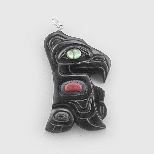Eagle Argillite pendant by Northwest Coast Native Artist Gryn White