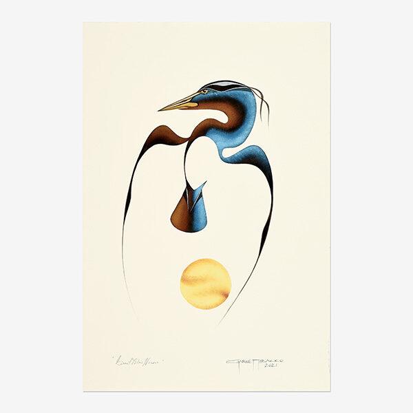 Original Blue Heron Painting by Plains Cree Native Artist Garnet Tobacco