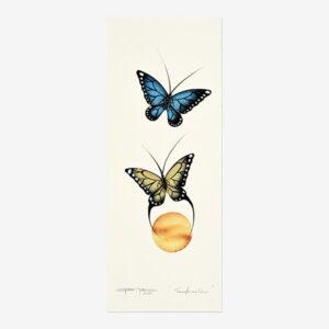 Original Butterflies Painting by Plains Cree Native Artist Garnet Tobacco