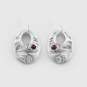 Silver and Garnet Hummingbird Earrings by Native Artist Chris Cook III