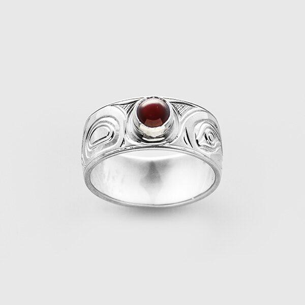 Silver and Garnet Hummingbird Ring by Native Artist Chris Cook III