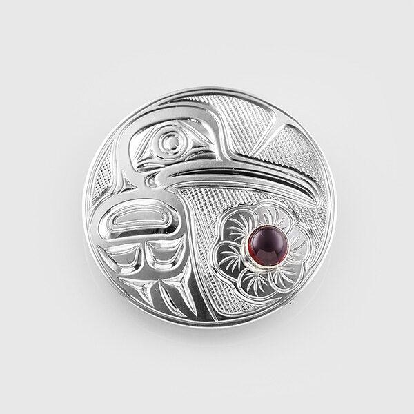 Silver and Garnet Hummingbird Pendant by Native Artist Chris Cook III