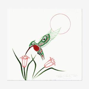 Original Hummingbird Painting by Northwest Coast Native Artist Richard Shorty