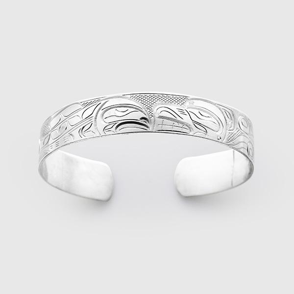 Silver and Salmon Bracelet by Native Artist John Lancaster