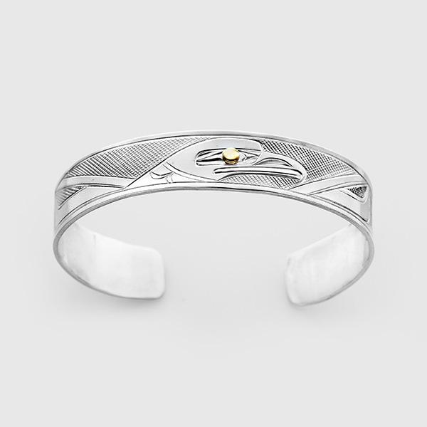 Silver and Gold Raven Bracelet by Native Artist Corrine Hunt