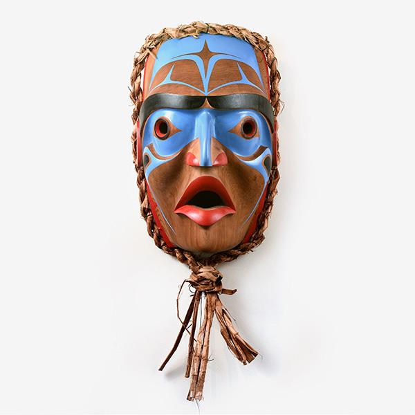Wood and Bark Human Mask by Northwest Coast Native Artist Robert Saunders
