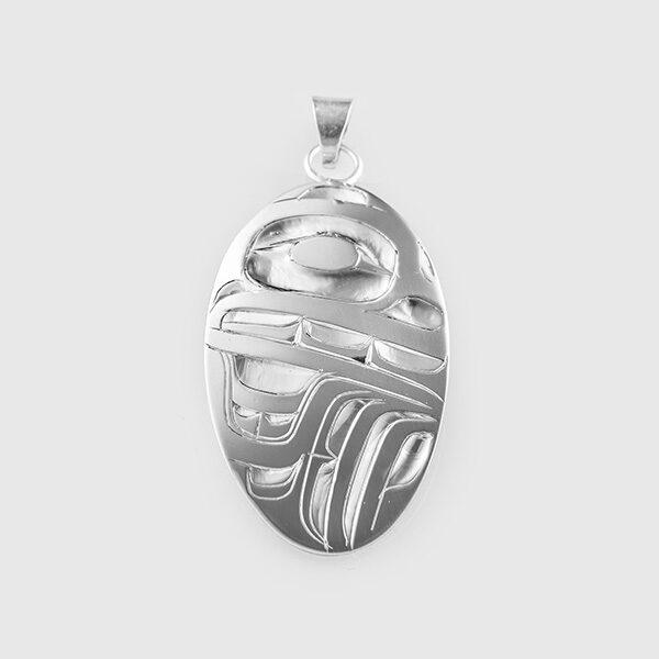 Silver Bear Pendant by Native Artist Alvin Adkins