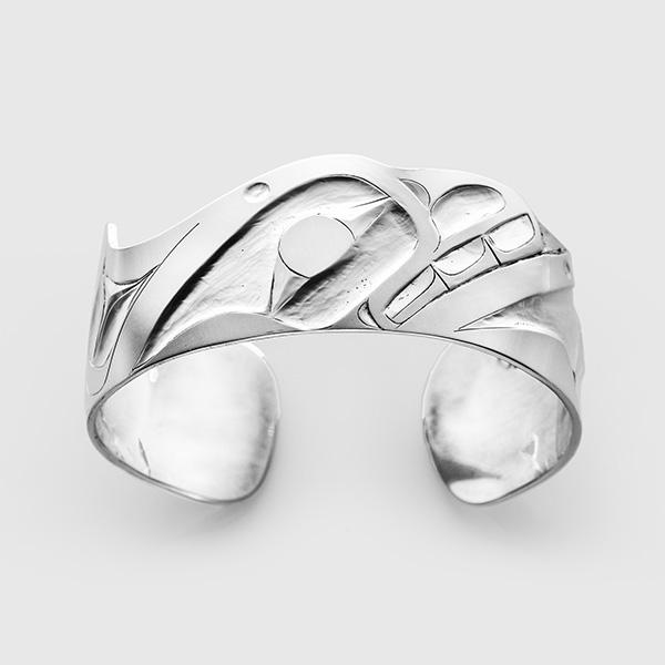 Silver Killerwhale Bracelet by Native Artist Alvin Adkins