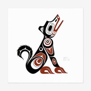 Original Wolf Painting by Northwest Coast Native Artist Adonis David