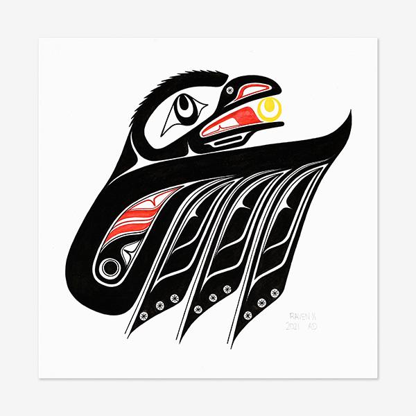 Original Raven painting by Northwest Coast Native Artist Adonis David