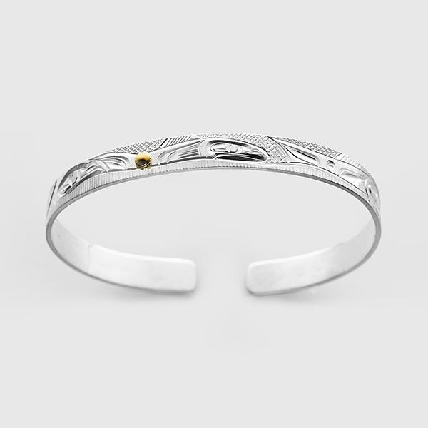 Silver and Gold Salmon Bracelet by Native Artist Corrine Hunt