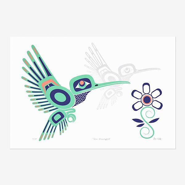 Green Hummingbird by Northwest Coast Native Artist Gryn White