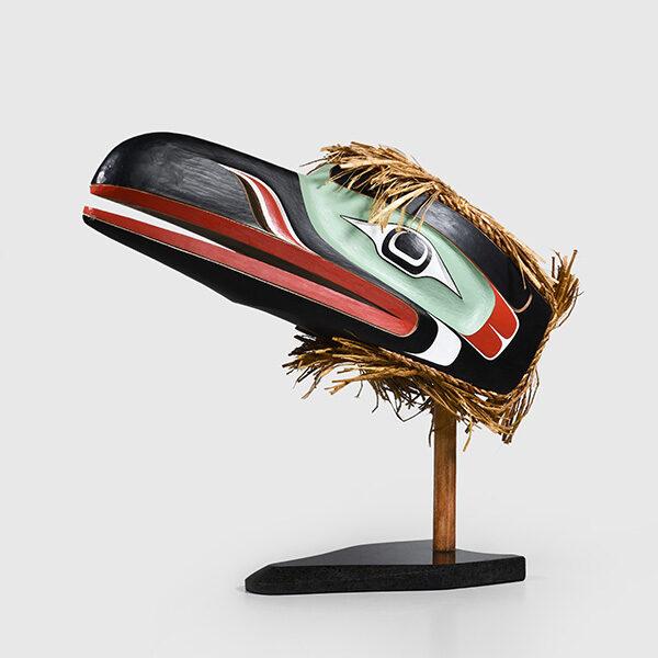 Wood and Bark Raven Mask by Northwest Coast Native Artist Raymond Shaw