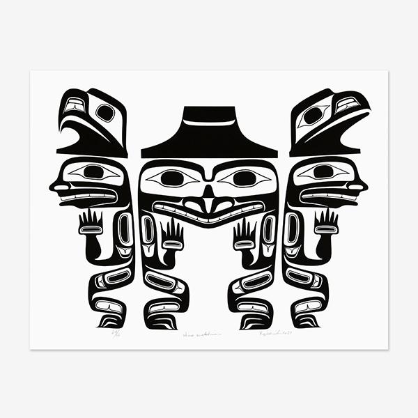 Three Watchmen Print by Northwest Coast Native Artist Reg Davidson