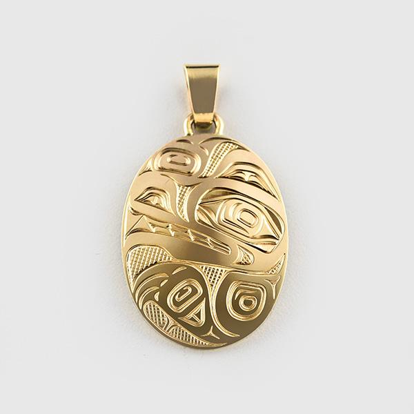 Gold Wolf Pendant by Native Artist David Neel