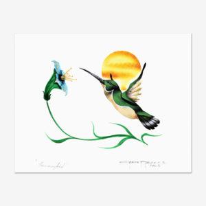 Original Hummingbird Painting by Plains Cree Artist Garnet Tobacco