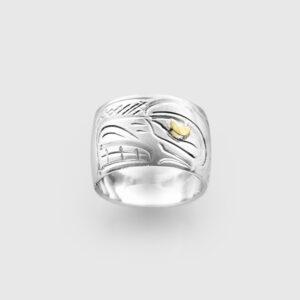 Silver and Gold Bear Spirit Bead by Native Artist John Lancaster