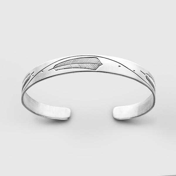 Silver Feather Bracelet by Native Artist Walter Davidson