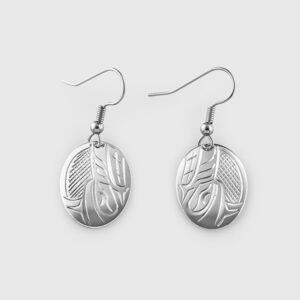 Silver Wolf Earrings by Native Artist John Lancaster