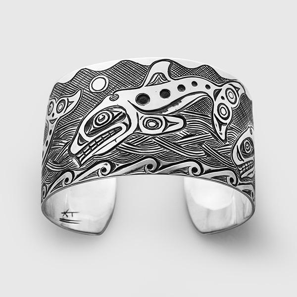 Silver Killerwhale Bracelet by Native Artist Kelvin Thompson