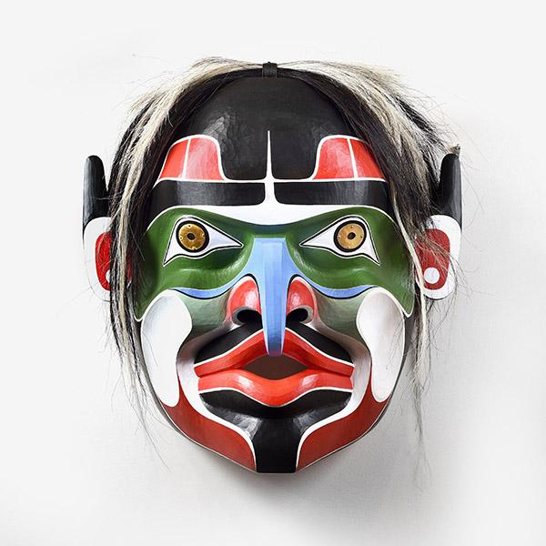 Wood, Horse Hair, and Brass Wild Man Mask by Northwest Coast Native Artist Raymond Shaw