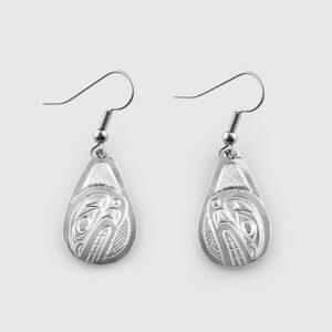 Silver Killerwhale Earrings by Native Artist Don Lancaster