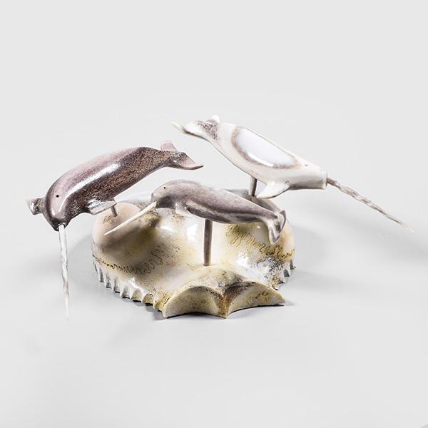 Muskox Horn and caribou Antler Narwhals Sculptures by Inuk Artist Tony Atsanilk