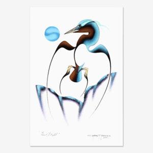 Original Acrylic Blue Heron Painting by Plains Cree Native Artist Garnet Tobacco