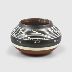 Porcelain Basket Weave with River Bowl by Northwest Coast Native Artist Patrick Leach