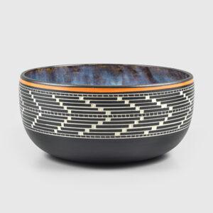 Porcelain Arrowhead Basket Weave Bowl by Northwest Coast Native Artist Patrick Leach