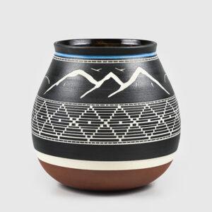 Porcelain Mountains & Eagle Vase by Northwest Coast Native Artist Patrick Leach