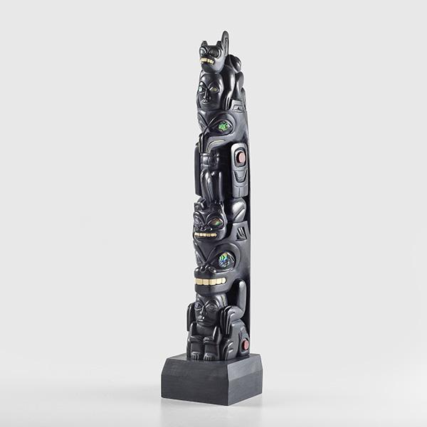 Argillite, Catlinite, Mastodon Ivory, 14K Gold, and Abalone shell Wasgo, Bear, Eagle, and Human Model Pole by Northwest Coast Native Artist Gryn White