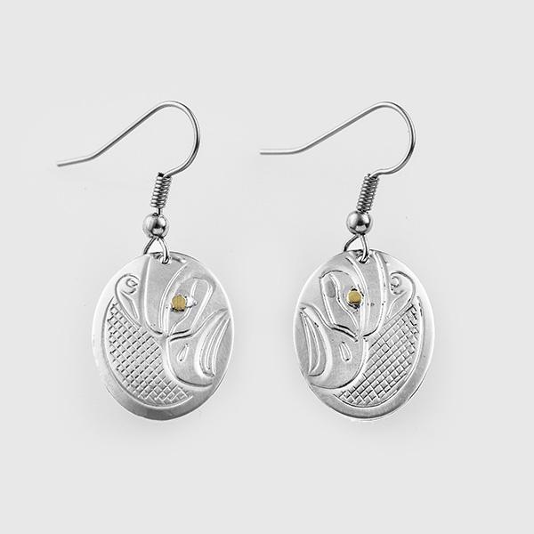 Silver and Gold Thunderbird Earrings by Native Artist John Lancaster
