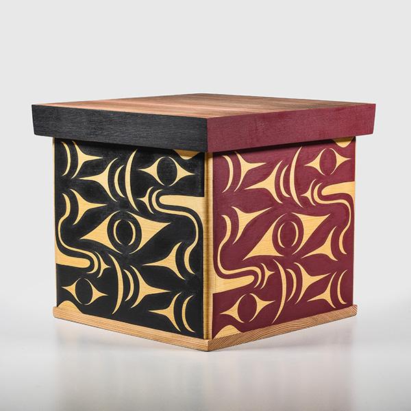Wood Salmon Bentwood Box by Northwest Coast native Artist Margaret August