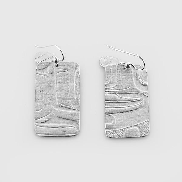 Silver Tall Box Earrings by Native Artist Gwaai Edenshaw