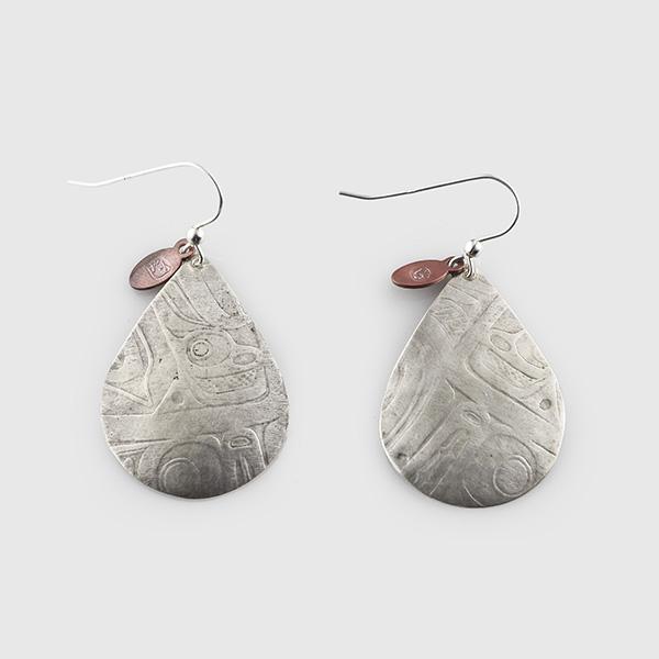 Silver Baby Raindrop Earrings by Native Artist Gwaai Edenshaw