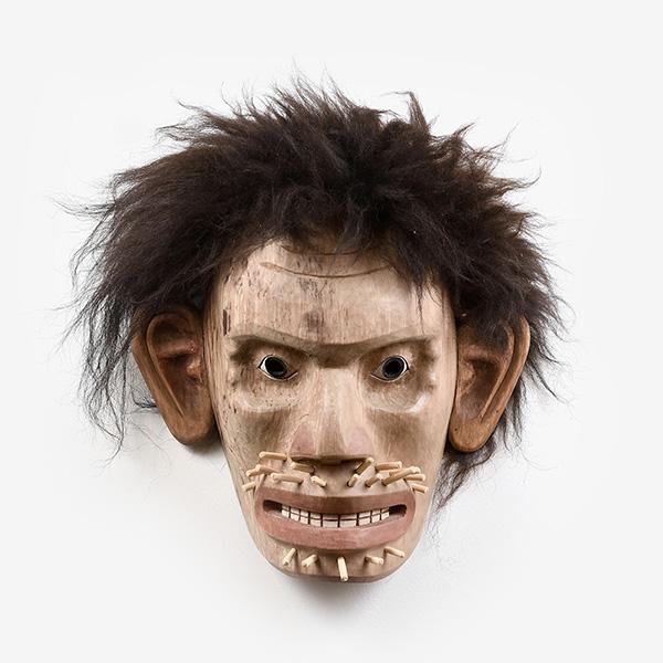Wood and Hair Wild Man Mask by Northwest Coast Native Artist Joe David
