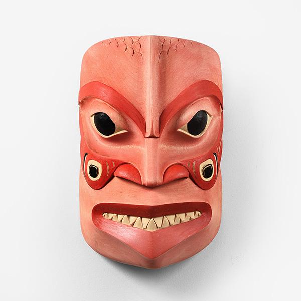 Wood Salmon Man Mask by Northwest Coast Native Artist Eugene Alfred