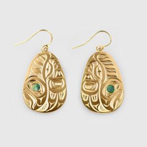 Gold Salmon Earrings by Native Artist David Neel