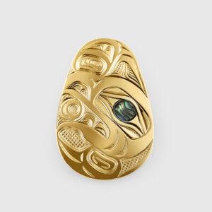 Gold Raven & Light Pendant by Native Artist David Neel