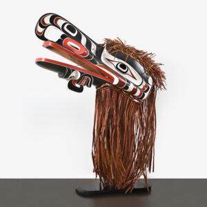 Wood and Bark Crooked Beak Mask by Northwest Coast Native Artist Raymond Shaw