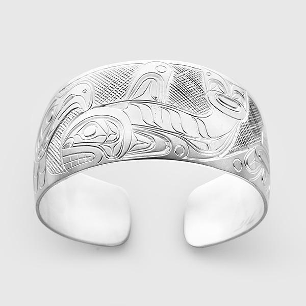 Silver Eagle Killerwhale and Raven Bracelet by Native Artist Don Lancaster