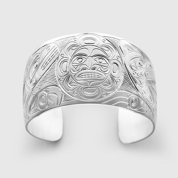 Silver Bear Sun and Wolf Bracelet by Native Artist Don Lancaster